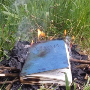 photo of diary burning