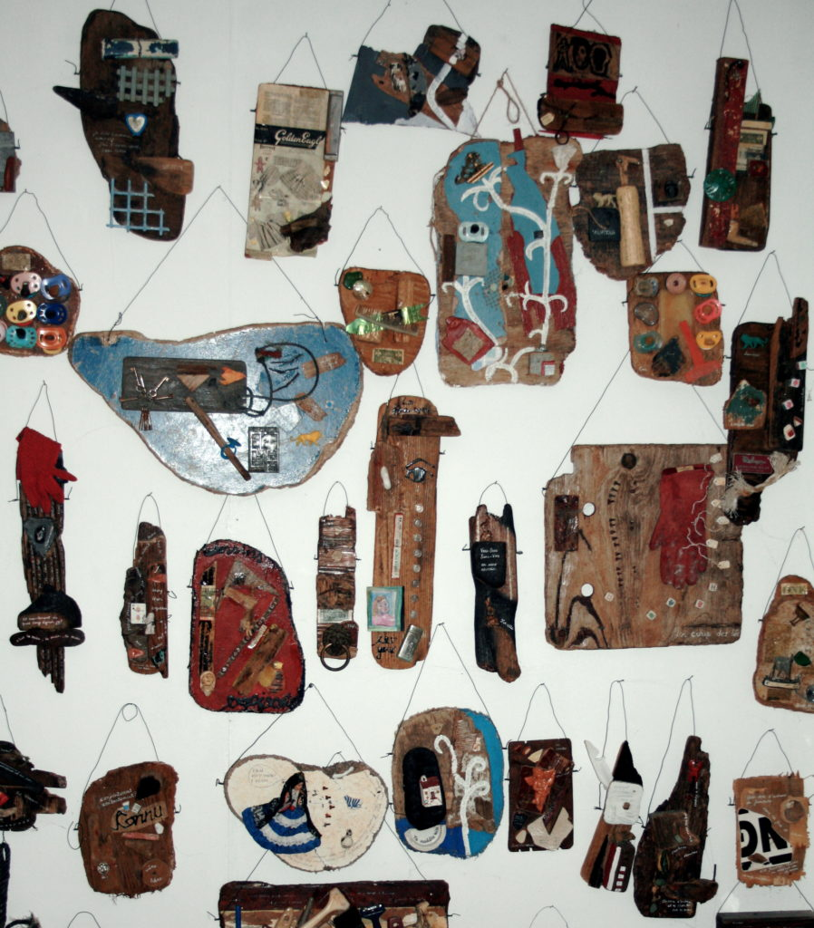 small assemblage art pieces using found objects