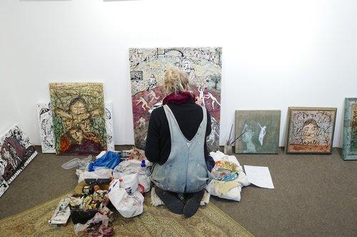 artist working at studio