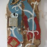assemblage of small object with paint